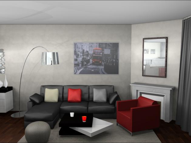 dcoration salon gris et rouge recherche google - Deco Salon Gris Rouge