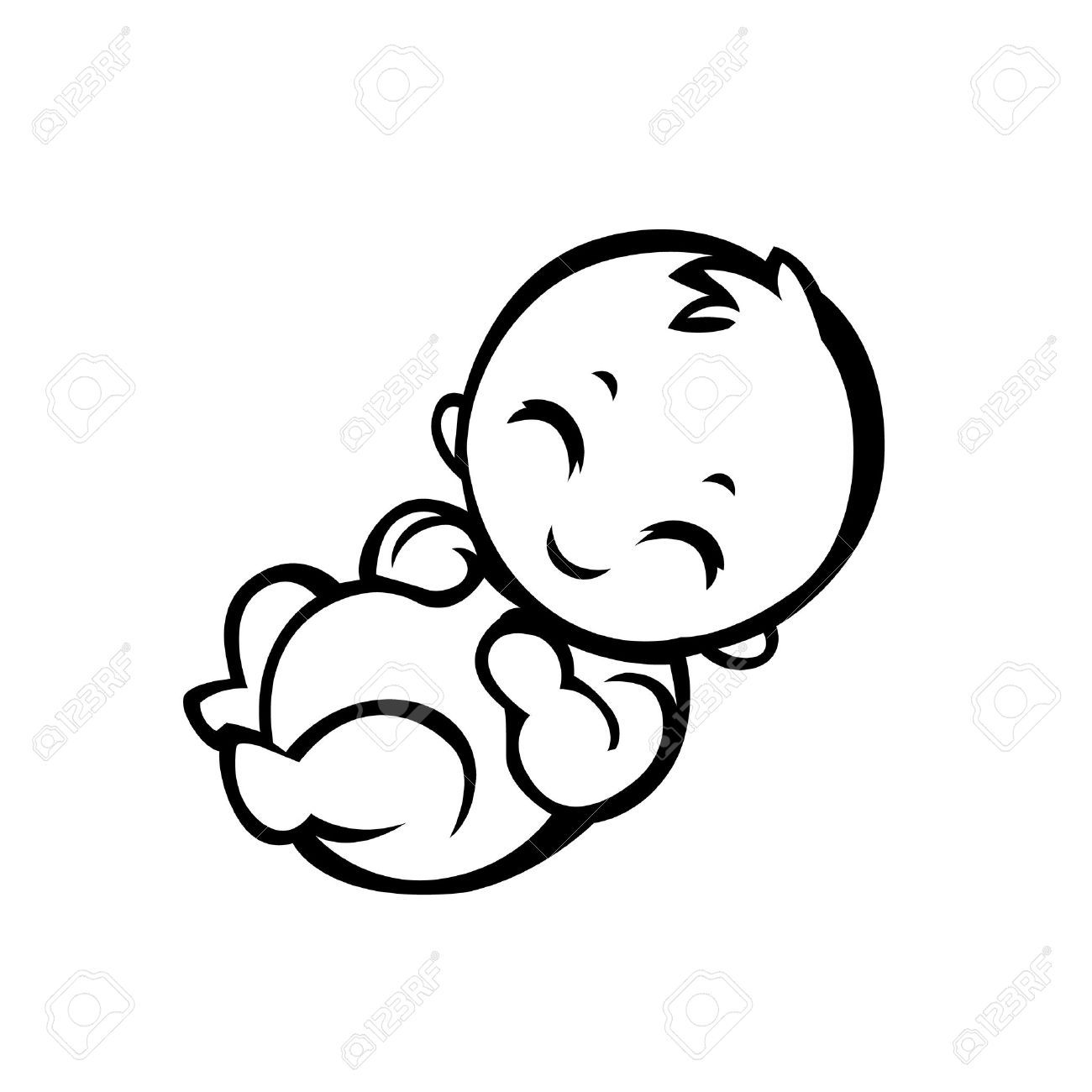 Newborn Little Baby Smiling With Small Arms And Legs