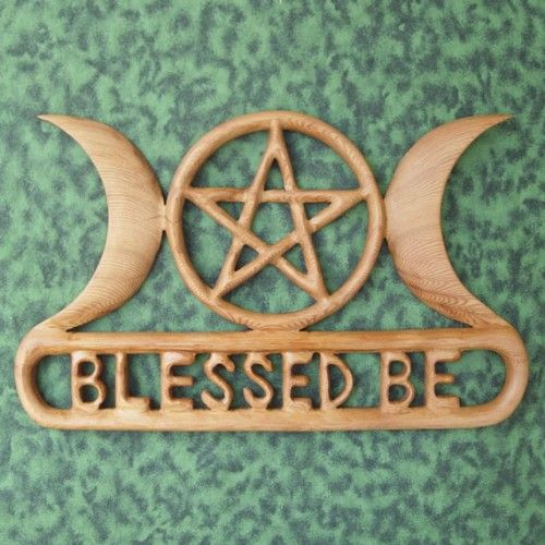 Triple Moon Blessed Be Goddess with Pentacle Celtic Knot Wood Carving. Signs of spirit by Coop and Katrina.