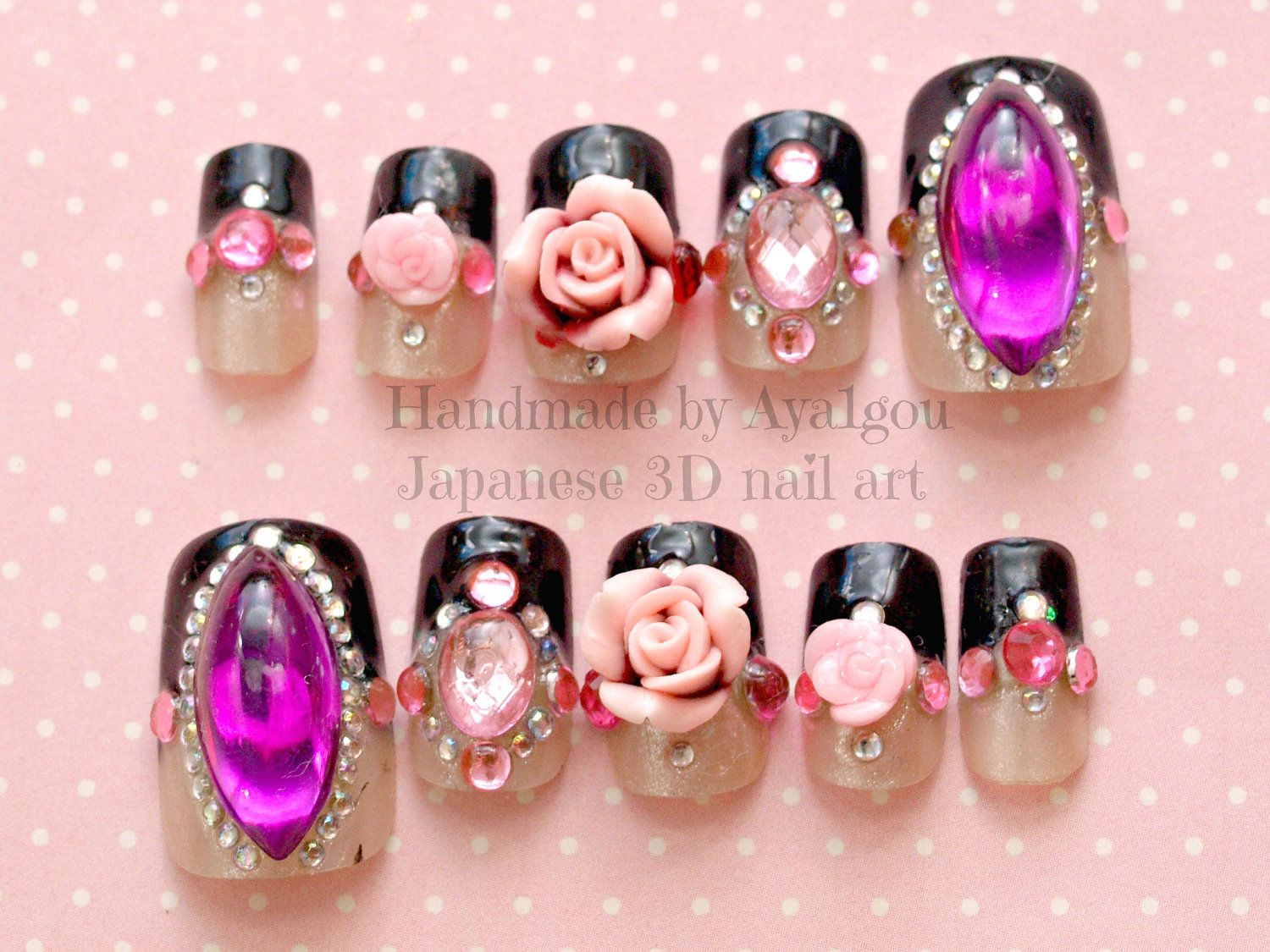 Majestic Japanese 3D Nail Art Design Idea With Big Glamorous Rhinestones And Roses Ornament On Black Mixed Beige Nails Color By Aya1gou