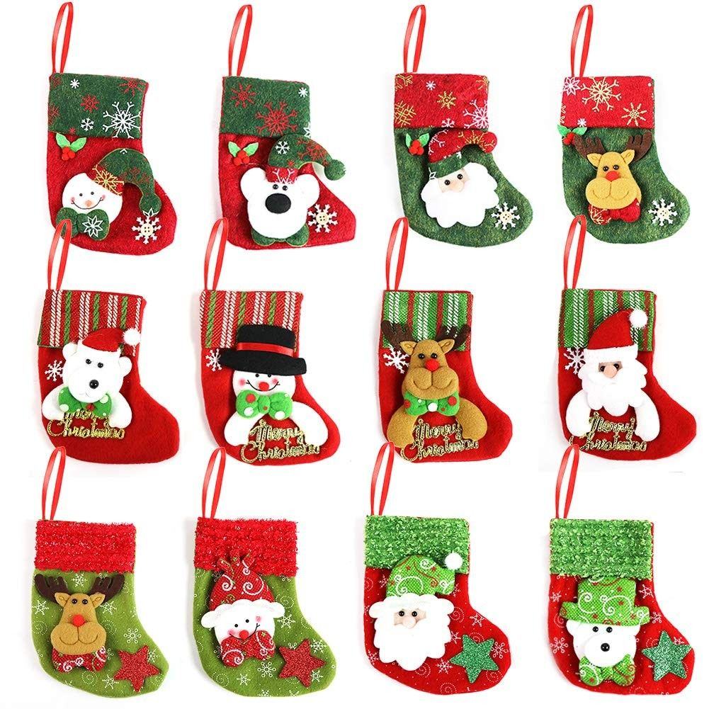 Cute Christmas Candy Mini Tree Ornaments Home Decoration 12pcs   W