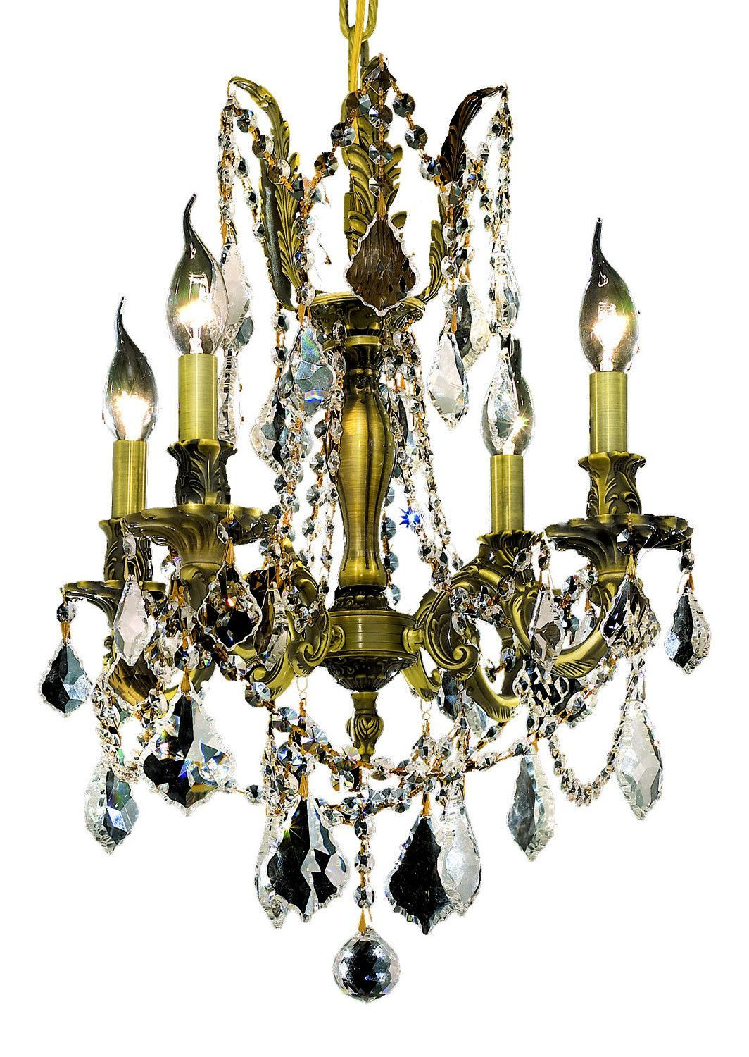Elegant Lighting - 9204 Rosalia Collection Hanging Fixture D17in H21in Lt:4 Antique Bronze Finish (Royal Cut Crystals)