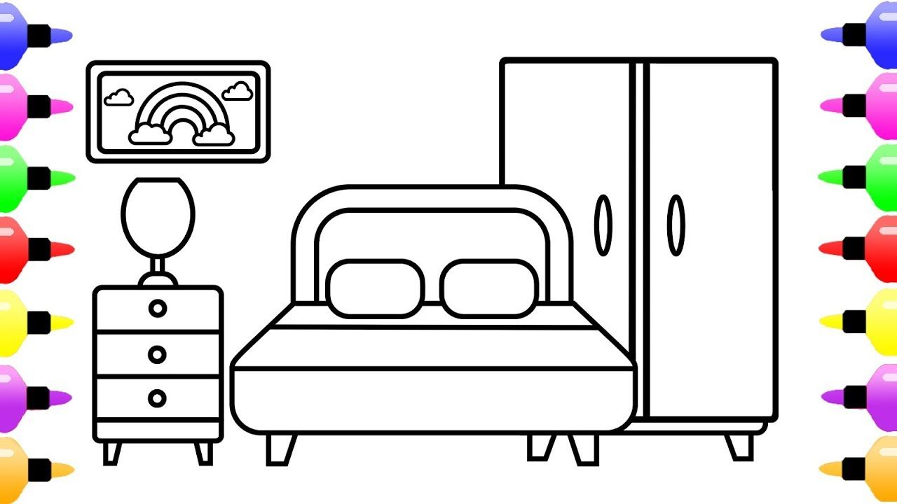 Bedroom Drawing And Coloring Page For Kids Children S Coloring Book Childrens Colouring Book Coloring Pages For Kids Bedroom Drawing