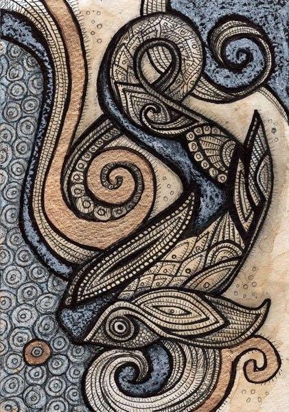 Original Ethnic / Celtic Koi Fish Animal by LynnetteShelley on Etsy.
