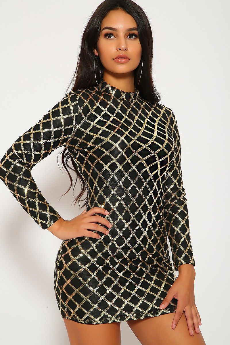Sexy black gold dress sequins long sleeve mock neck body con in