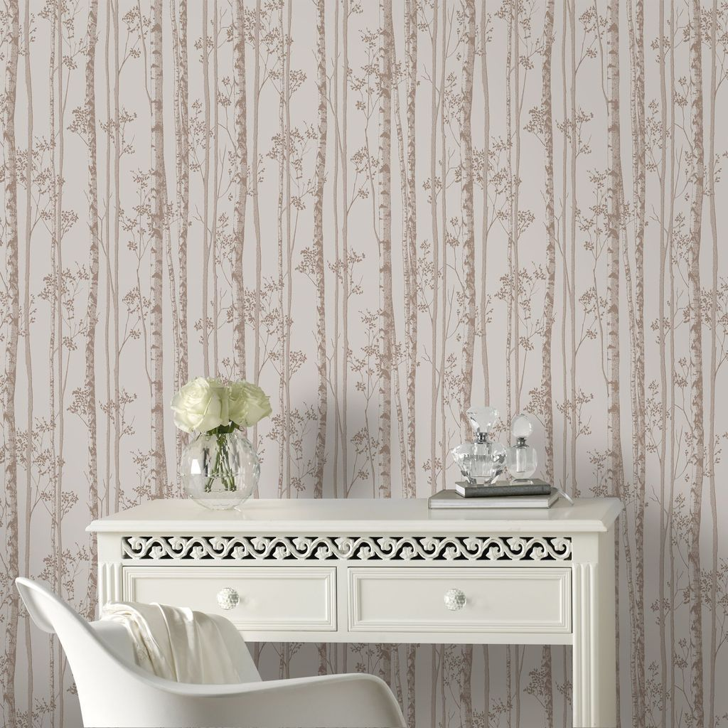 Linden Pebble and Rose Gold Wallpaper