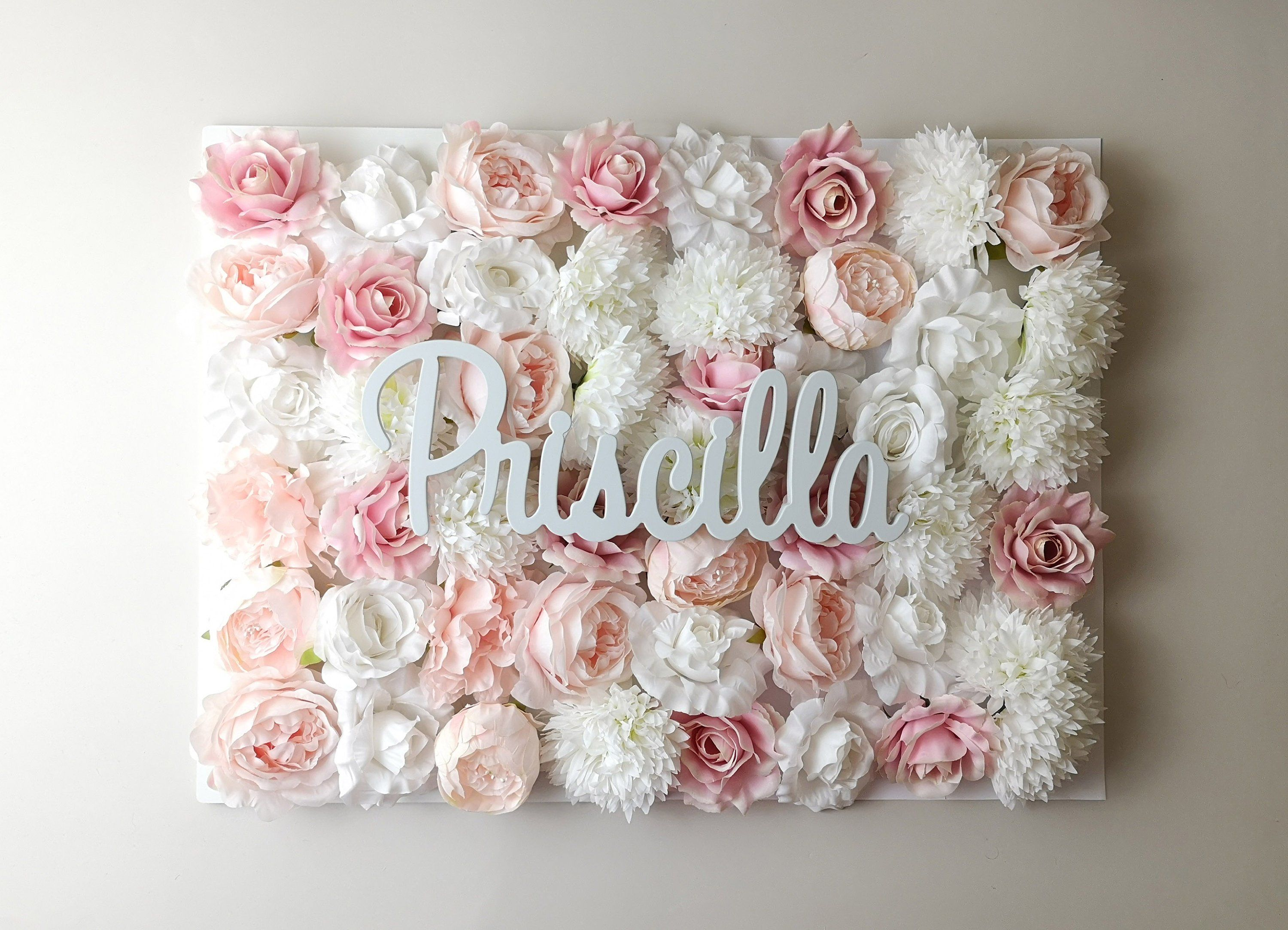Flower Wall Panel Nursery Name Sign Baby Name Sign Pale Etsy Flower Wall Decor Flower Wall Flower Letters