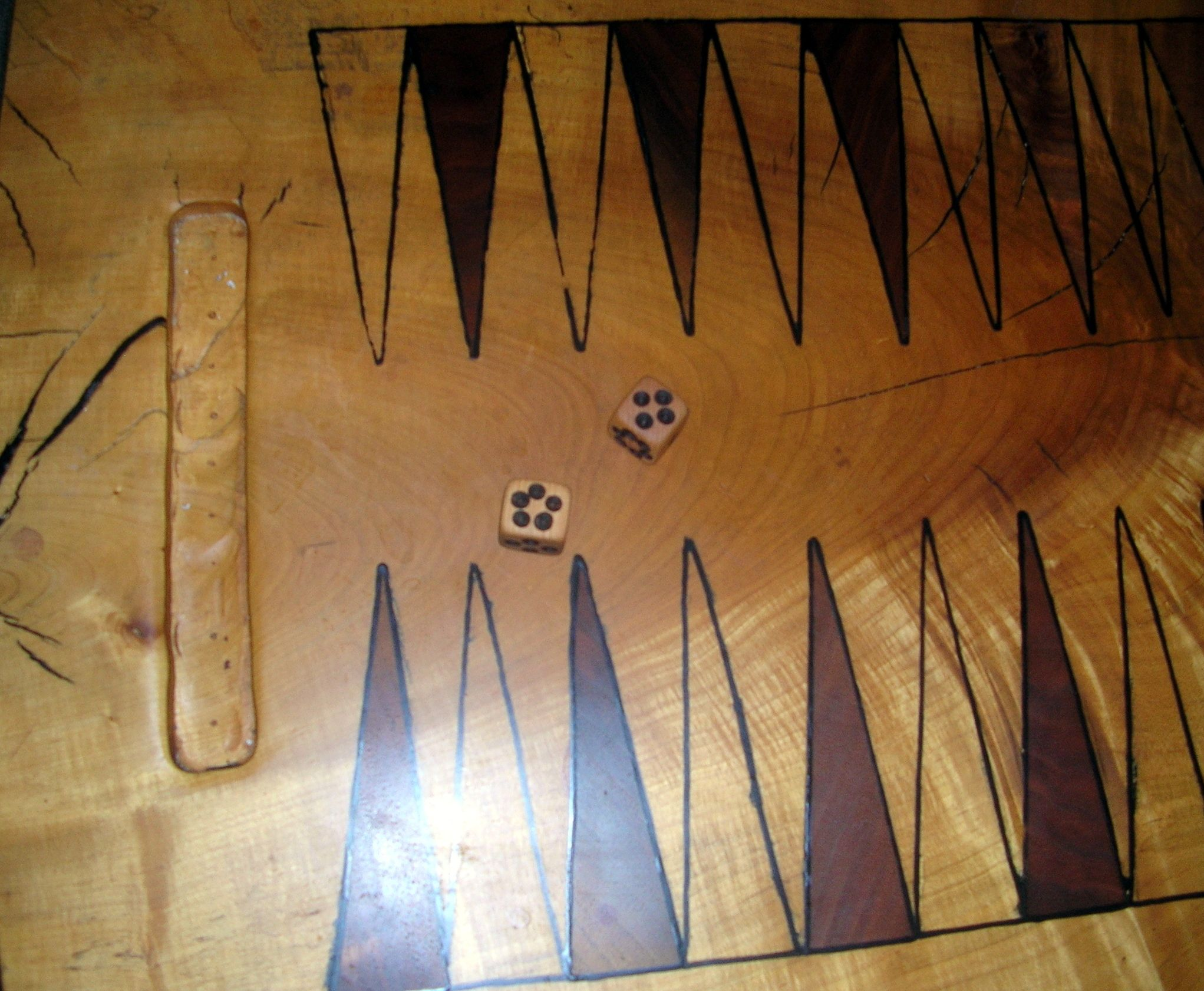 top view and dice of the backgammon table