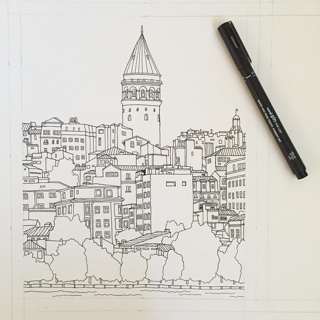 istanbul turkey art drawing pen sketch illustration