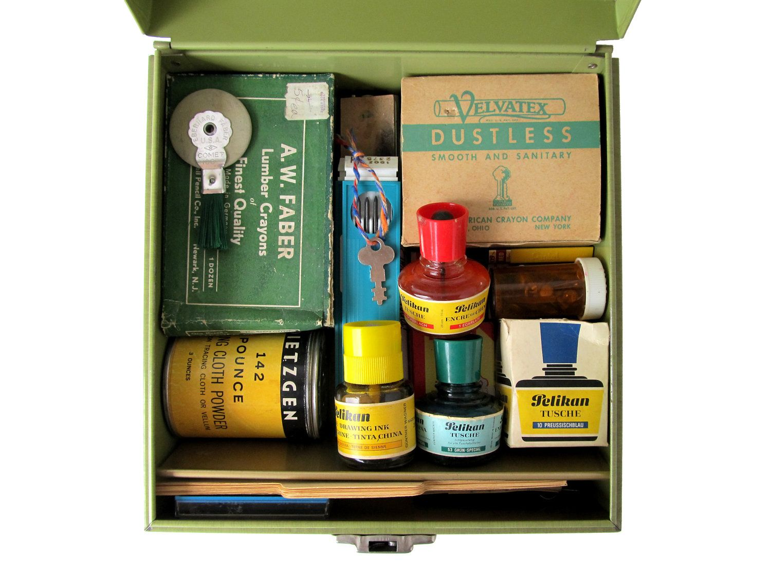 Vintage Office Supplies In A Retro Green File Box. $85.00, Via Etsy.