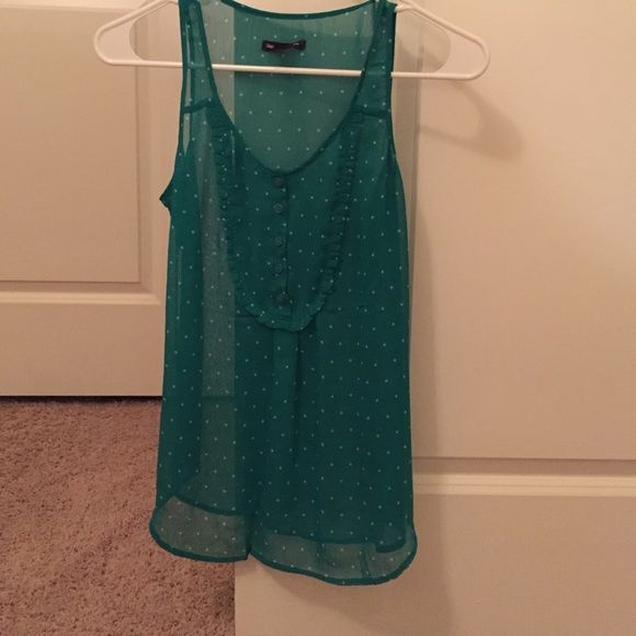 Sheer  green gap sleeveless blouse with stars. Like new. Size S gap sleeveless blouse. Very cute. GAP Tops Blouses