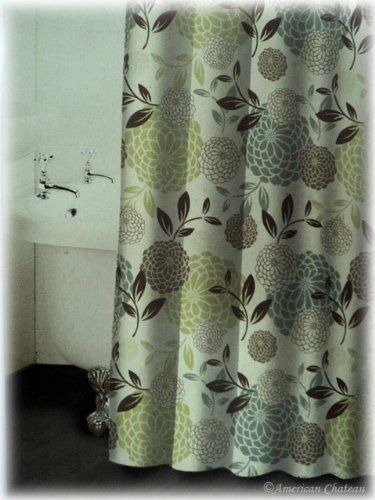 Retro Colorful Beige Turquoise Brown Floral Flowers Fabric Shower ...