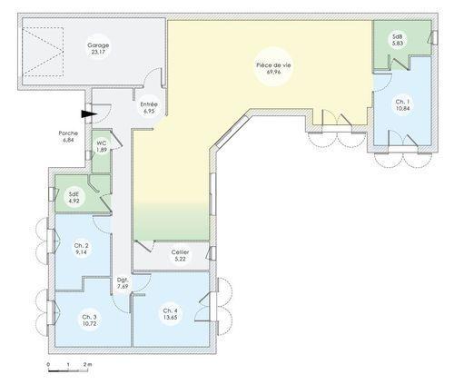 Plan maison maison de plain pied de quatre chambres for Plan maison plain pied 3 chambres avec suite parentale