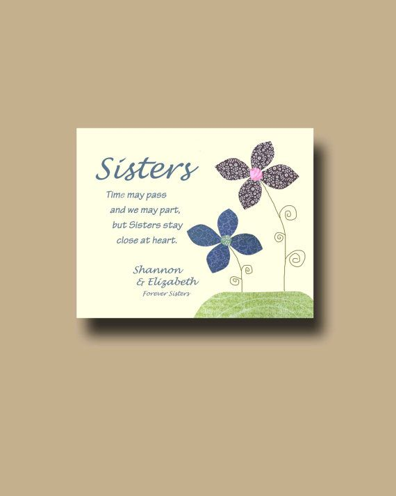 Sisters Gift Print Personalized Gift for Sister by BoutiqueBlu