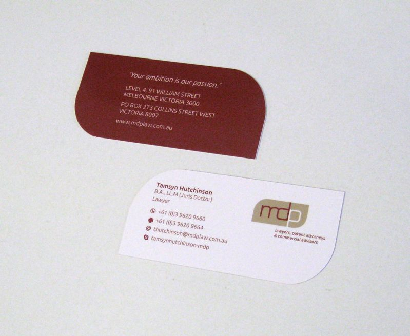 Deluxe die cut business cards for MDP Law. www.epping.minutemanpress ...
