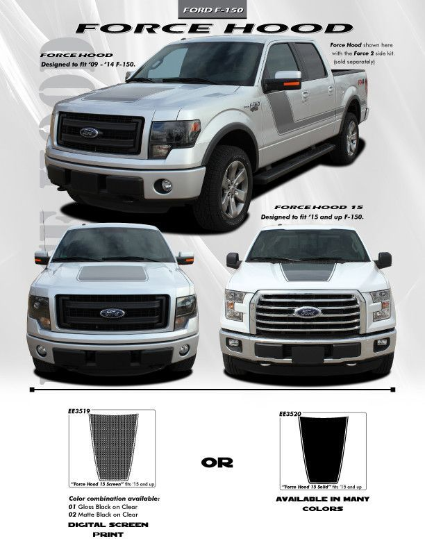 2015 Up Ford F 150 Graphics Force Hood Digital Print Or 3m Vinyls Decals Ford F150 Ford Vinyl Graphics