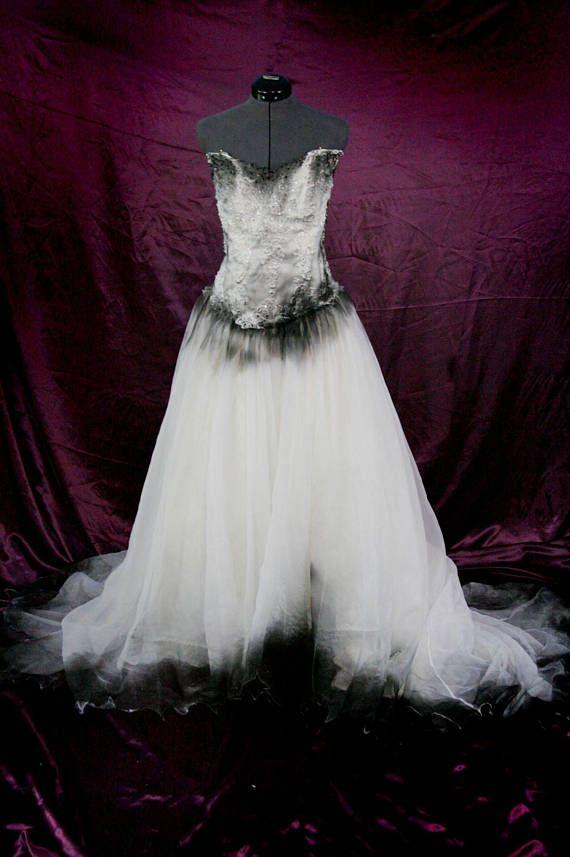 Corpse Bride Black And White Wedding Dress Plus Size Wedding