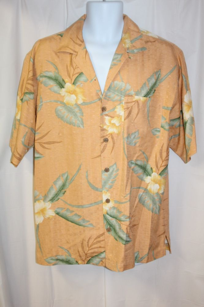 Shirts Official Website Tommy Bahama Mens Size L Floral Short Sleeve Wood Button Polo Shirt