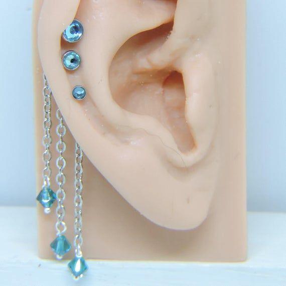 Triple Helix Piercing Cartilage Tragus SET of 3 – 1/4″ Barbells 16 Gauge – 3mm 4mm 5mm AQUAMARINE Cr