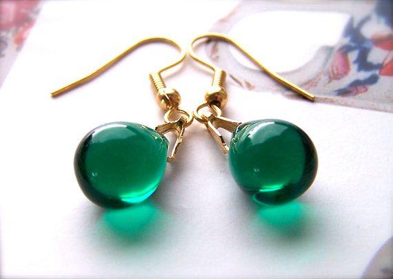 Teardrop Earrings Dark Green Forest Earring Wedding Drop Bead Uk Gifts For Friend