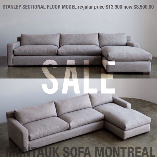 Montauk Sofas Sofa Sectionals With Chaise Vente Sale Montreal Stanley Lounge Sectional Floor Model De Plancher Right