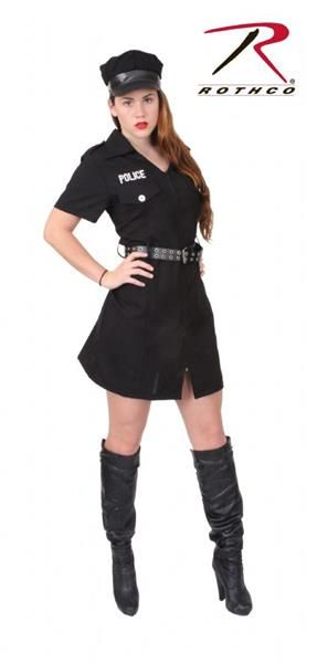 Women s Black Police Costume Boots Shoes SOLD SEPARATELY Womens Police  Halloween Costume Short Sleeve Dress Collared d27f0ede9e