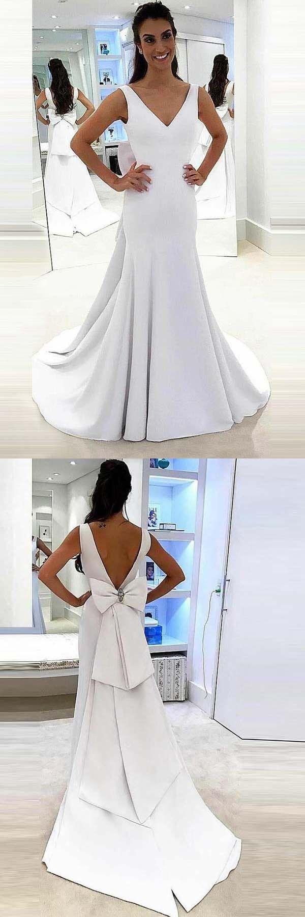 Mermaid deep vneck sweep trian white satin backless wedding dress