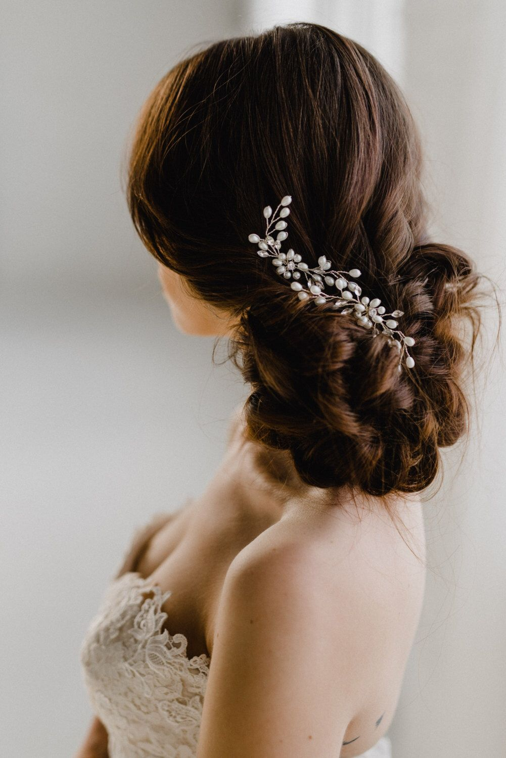 gold leaf bridal hair pin | gold flower hair comb | petite