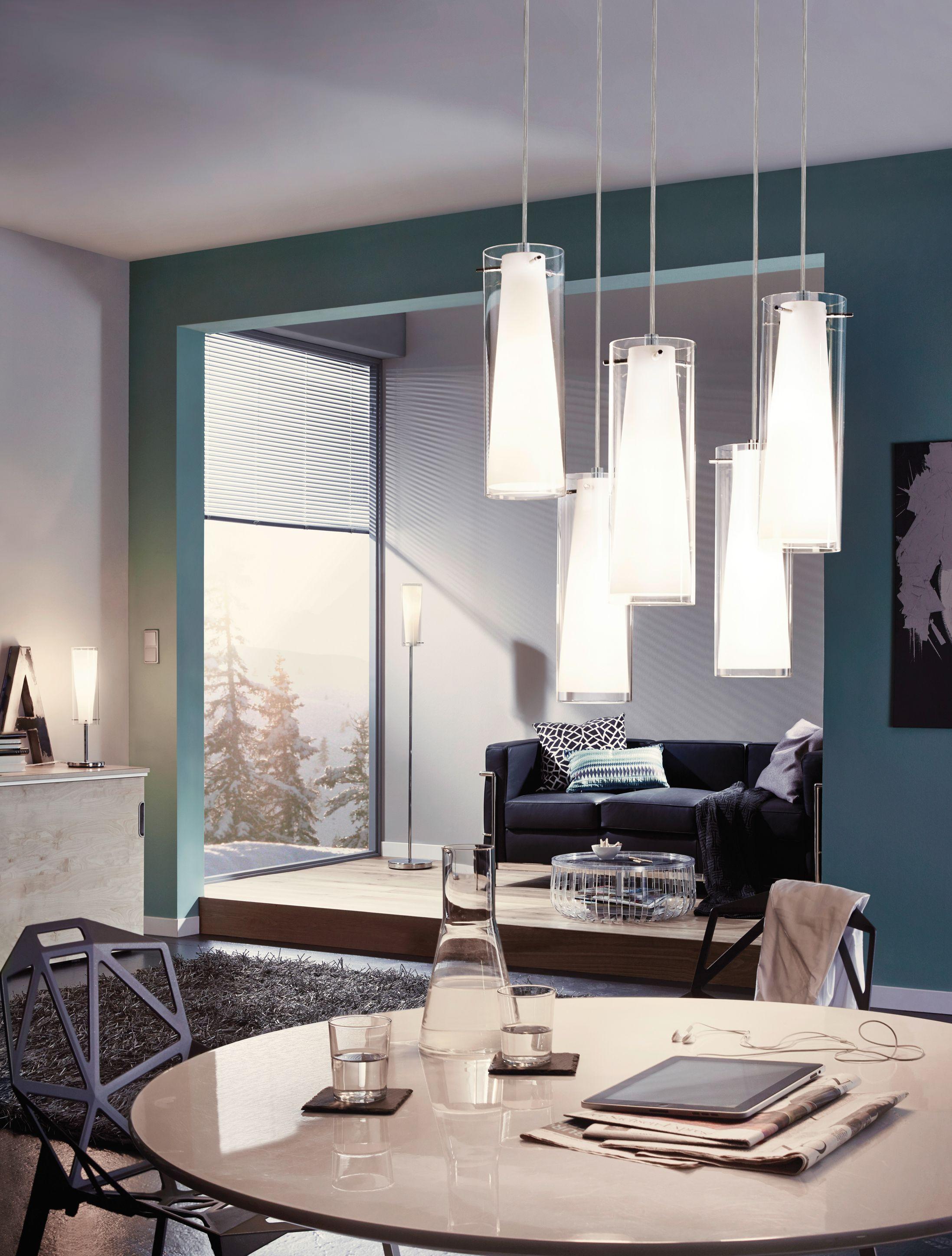 Eglo Lighting Pinto Chrome Opal Gl 5 Lamp Pendant Light