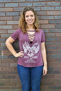 Burgundy Lace Up Graphic Tee