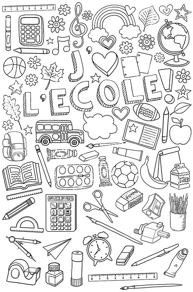 Affaires d'école à colorier | Coloriage rentree des ...