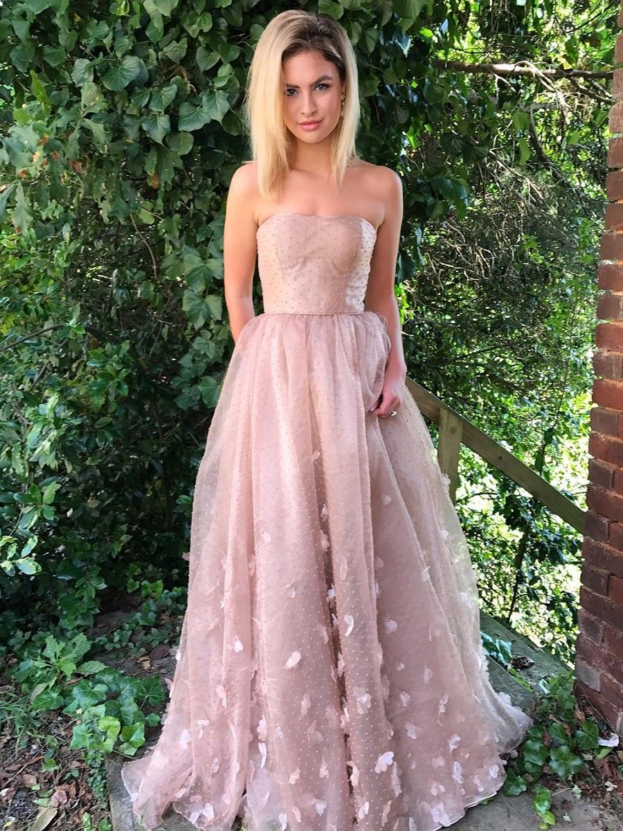 A-Line Strapless Blush Lace Evening Prom Dress with Appliques ...