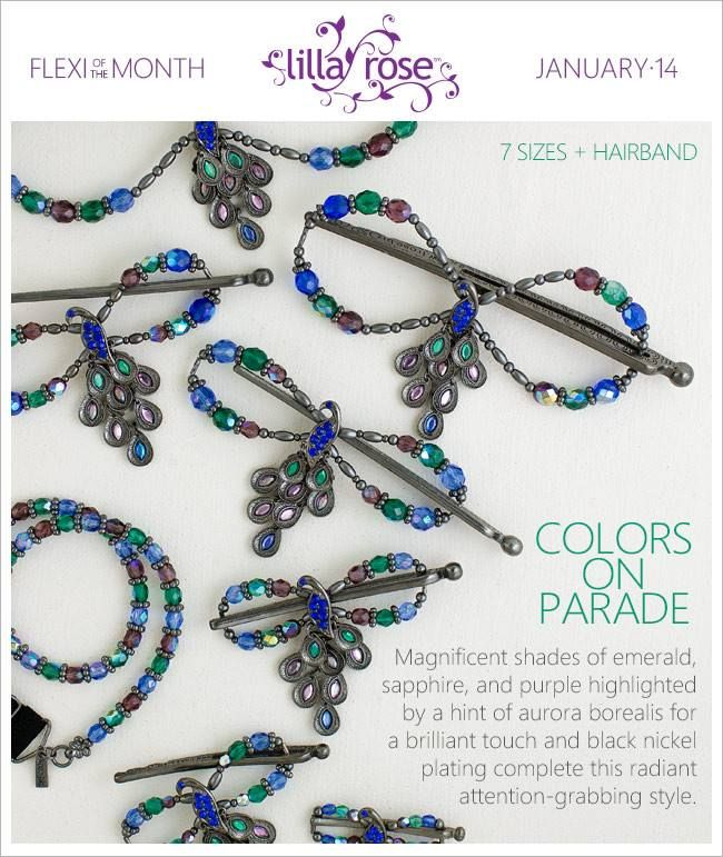 January 2014 Flexi of the Month and Hairband of the Month - Colors on Parade :) http://lillarose.biz/rrobinson