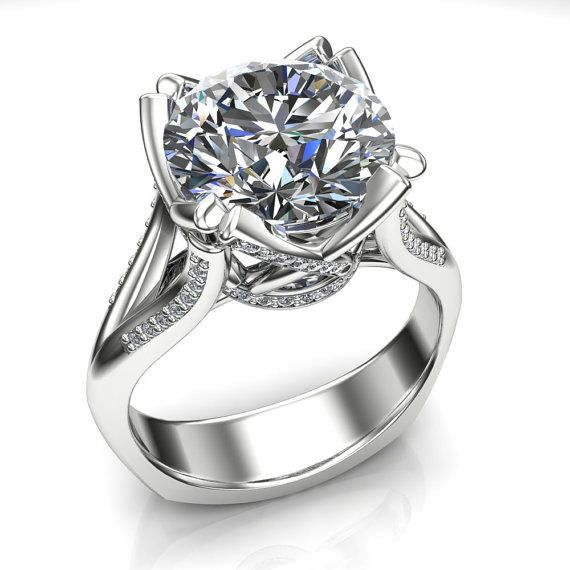 4 Carat Diamond Engagement Ring in Fancy Cathedral by jetflair