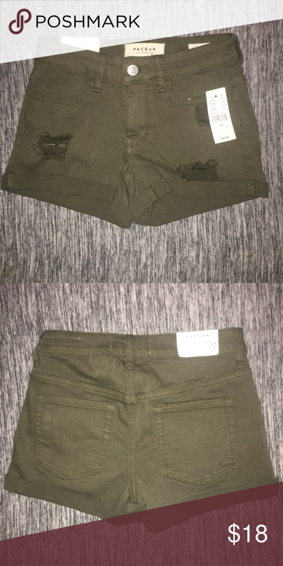 04b565ccc7 NWT Size 22 Shorts, Green NWT Size 22 Shorts Super Stretch shortie Like a  size 00 juniors Olive green jean shorts / army green Distressed Holes  Pacific ...