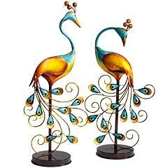 Metal Peacocks with Stands.  Sold separately at Pier 1 Imports. Perfect for the guest book or gift table.