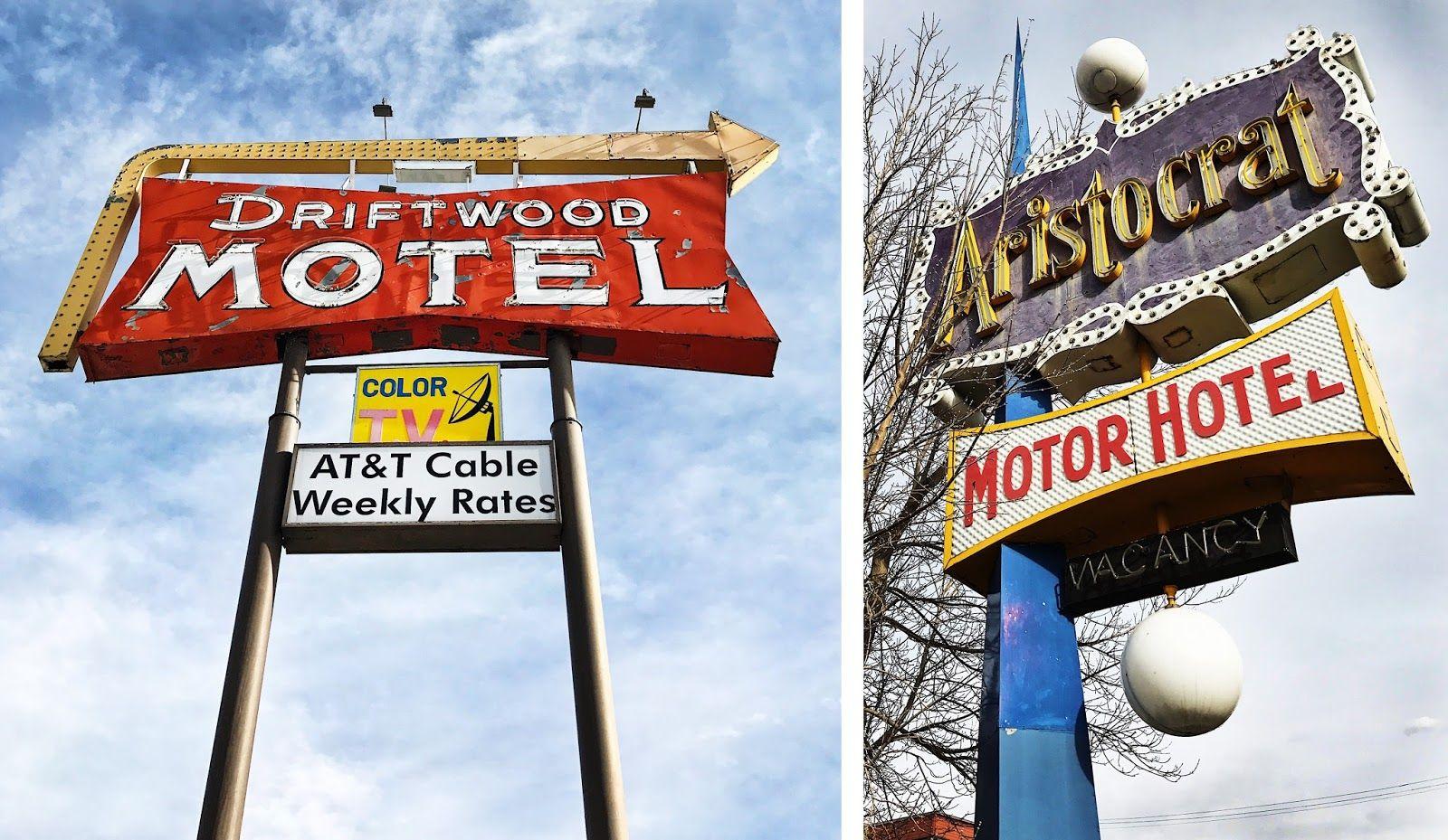 Vintage Launderette Sign Driftwood Motel  Aristocrat Motor Hotel  Denver  _Funnel  Eric