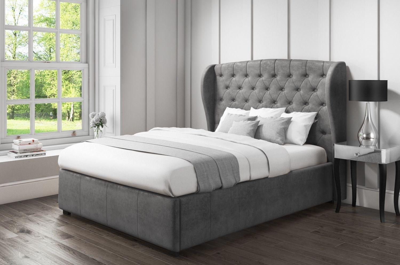 Pleasant Safina Wing Back King Size Ottoman Bed In Grey Velvet Saf023 Spiritservingveterans Wood Chair Design Ideas Spiritservingveteransorg