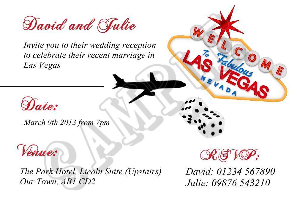 Las Vegas Wedding Announcements A6 Personalised Las Vegas Wedding