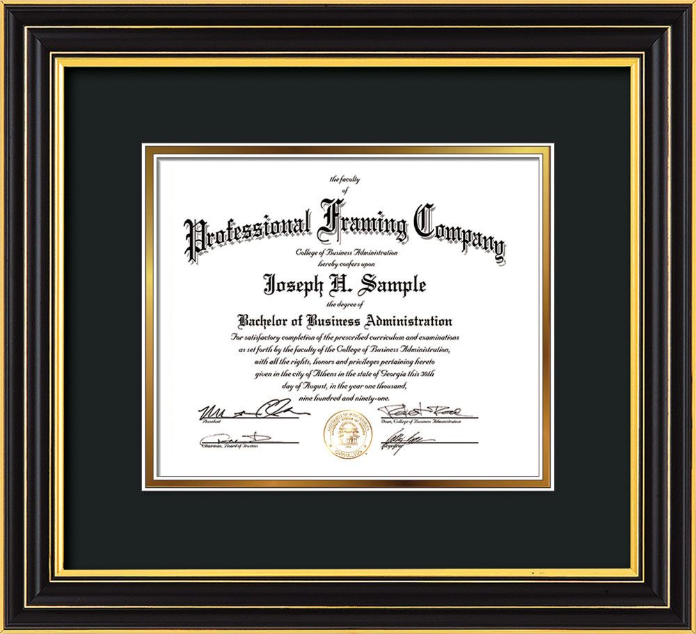 Custom Satin Black Document Certificate Frame Black On Gold Mat Professional Framing Company Diploma Frame Frame Certificate Frames