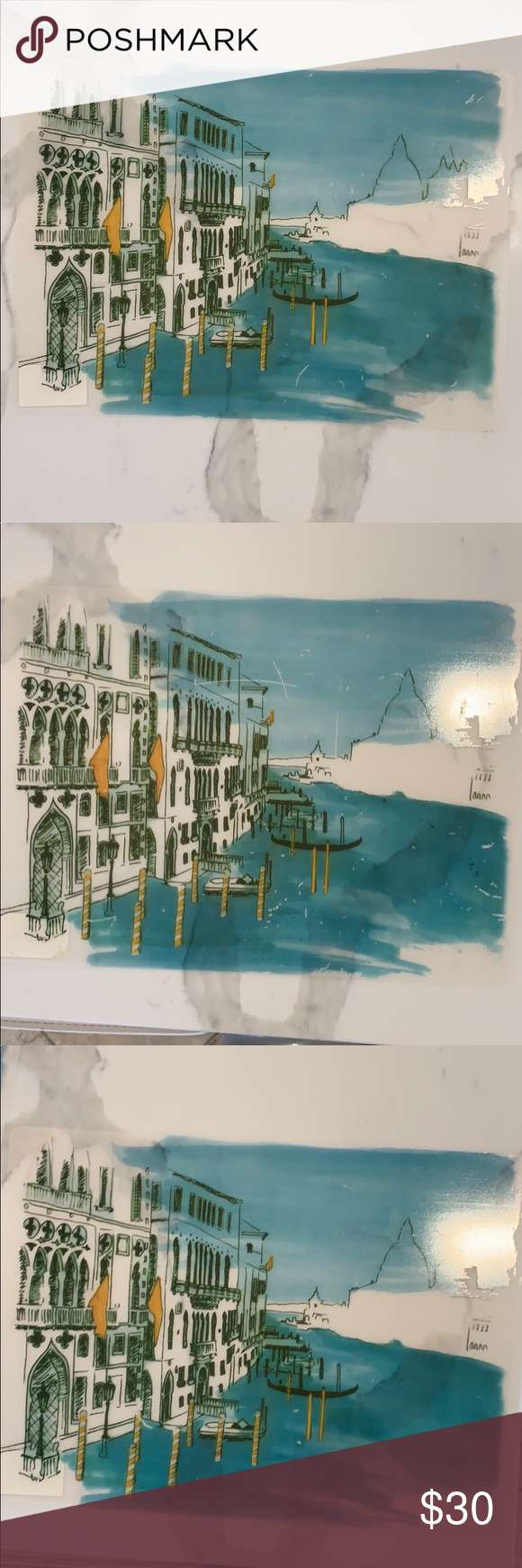 Photo of Wipe Clean Placemats of Venice Italy Venezia Italia Scene over Frosted Clear Bac…