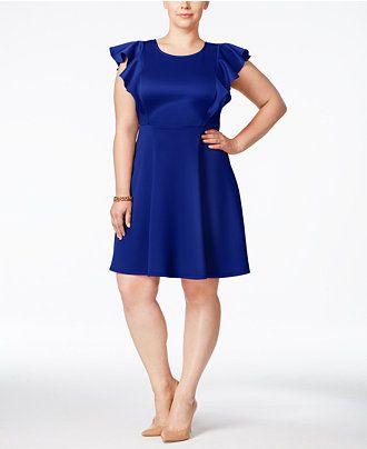 Soprano Plus Size Ruffled-Sleeve Scuba Dress - Dresses - Plus Sizes - Macy's