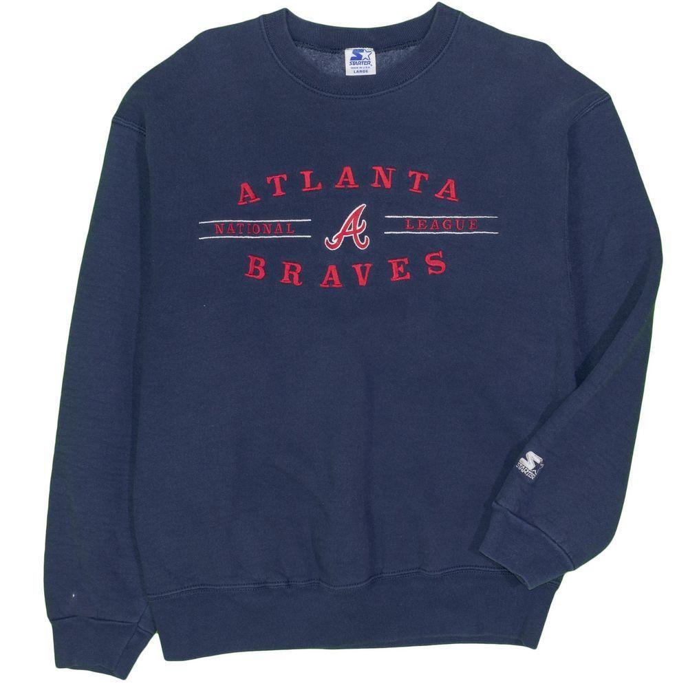Atlanta Braves Starter Men S Sweatshirt Large Vintage 1990 S Baseball Mlb Usa Clothing Shoes Accessories Men S Cl Mens Sweatshirts Sweatshirts Usa Outfit