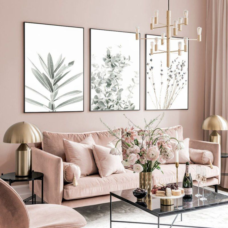 Golden Leaves Poster Nordic Canvas Painting Palm Leaf Wall Art Pictures For Living Room Modern Home Decorative Prins On The Wall Living Room Pictures Pink Living Room Living Room Decor Apartment