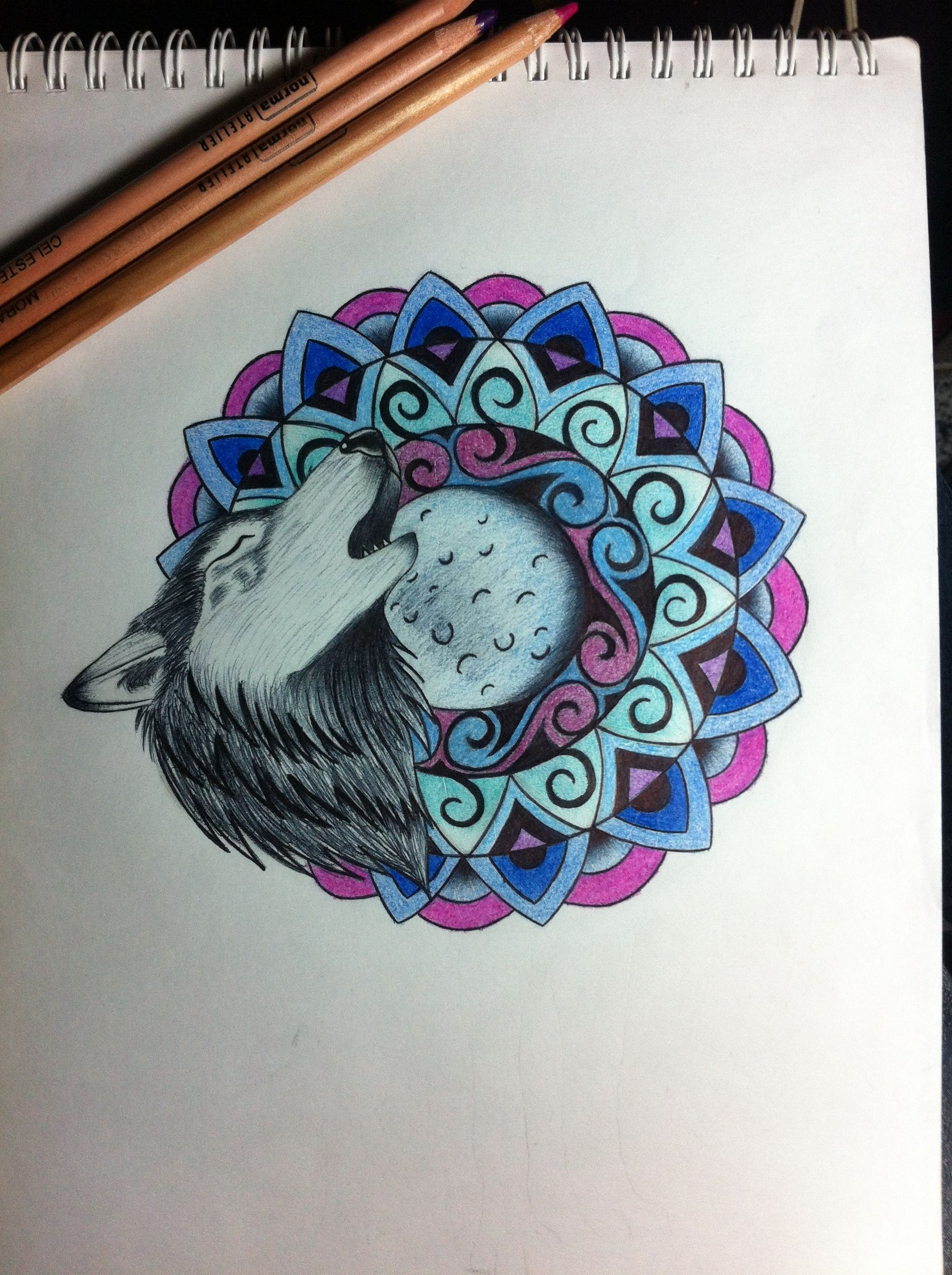 Lobo Mandala Tecnica Lapiz De Color Frenetik Art Art Drawings Y