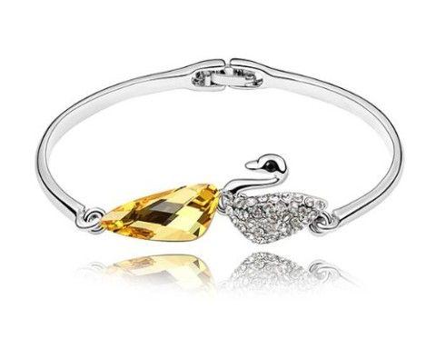 Lovely Little Swan, Alloy Swan Bangle Bracelet with Teardrop Yellow Swarovski Elements Crystal.