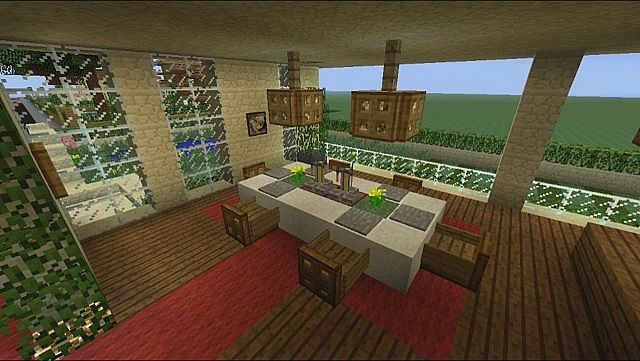 Architecture:Mesmerizing Minecraft Dining Area Interior Design Ideas With  Red Area Rug Beside Huge Bay