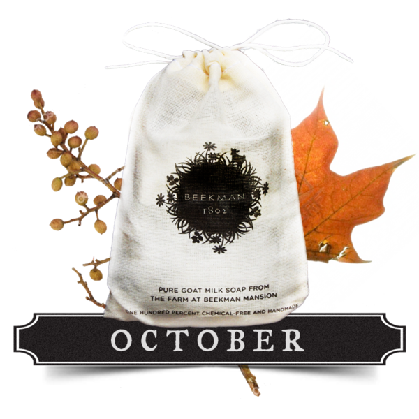 """Beekman 1802 Mercantile - """"MONTH OF OCTOBER"""" PURE GOAT MILK SOAP. The fragrance of our """"Month of October"""" Pure Goat Milk Soap is like a walk through the autumn woods, with notes of apple wood crackling in the fireplace and autumn leaves crunching underfoot.  Each mill-cloth drawstring bag contains two wrapped 3.25 oz bars. $12.50"""