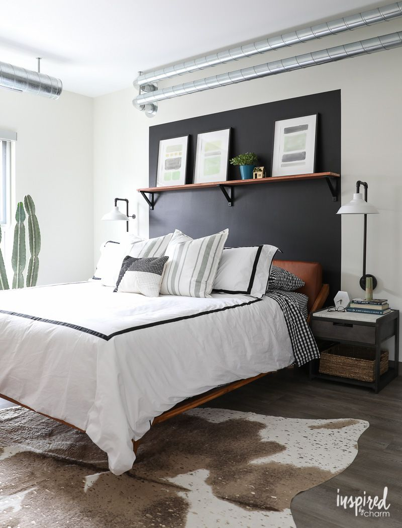 Masculine Modern Farmhouse Organized and Updated Bedroom