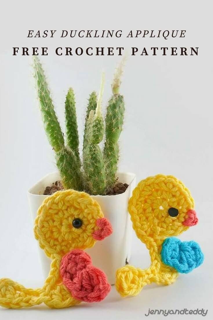 Easy duckling applique free crochet pattern | DIY/Crafts ...